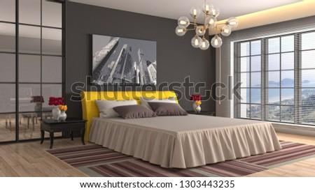 Bedroom interior. 3d illustration #1303443235