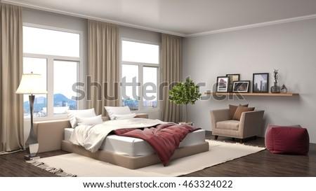 Bedroom interior. 3d illustration #463324022