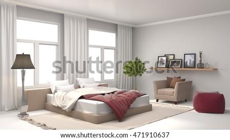 Bedroom interior. 3d illustration #471910637