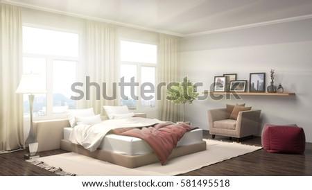 Bedroom interior. 3d illustration #581495518