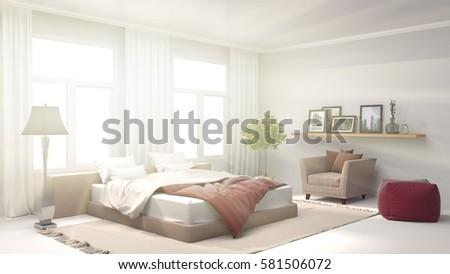 Bedroom interior. 3d illustration #581506072