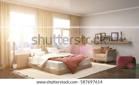 Bedroom interior. 3d illustration #587697614