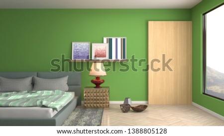 Bedroom interior. 3d illustration. Bed #1388805128