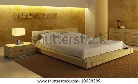 bedroom interior 3d rendering - stock photo