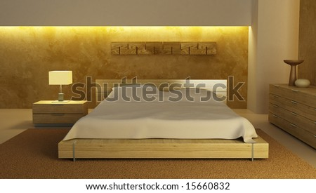 Bedroom Interior 3d Rendering Stock Photo 15660832 : Sh