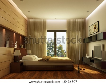 Bedroom Interior Design Stock Photo 15436507 : Shutters