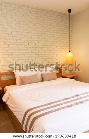 Bedroom Interior design with raw brick wall, Home Architecture