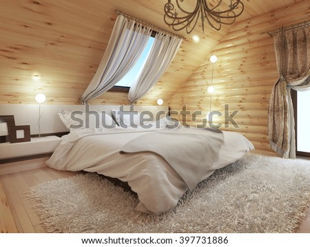 bedroom interior in a log on...