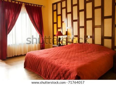 Bedroom. Interior of the hotel room - stock photo