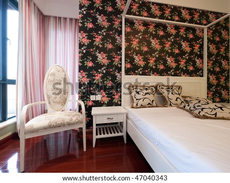 Bedroom Interior With Beautiful Wallpaper Stock Photo 4