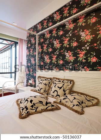 Bedroom Interior With Beautiful Wallpaper Stock Photo 5