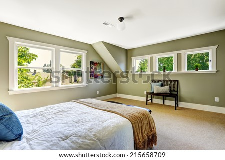Bedroom interior with beige carpet floor and green walls. Furnished with wooden bed and bench