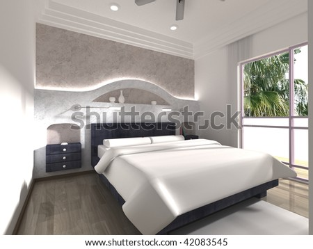 Bedroom Modern Interior Design. Bed, Fan, Window, Balco