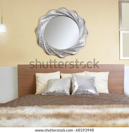 bedroom modern silver mirror fake fur african blanket