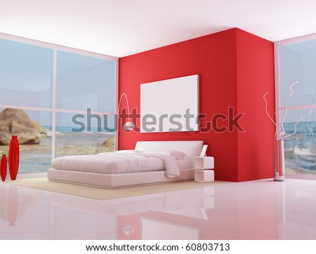 bedroom of a modern beach villa - rendering - the image on background is a my photo