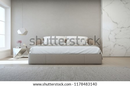 Bedroom of luxury house with double bed and carpet on wooden floor. Empty gray concrete wall background in vacation home or holiday villa. Hotel interior 3d illustration.
