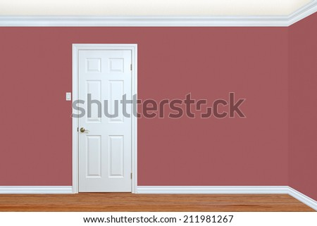 Bedroom wall and corner with door, baseboard and crown molding with room for text #211981267