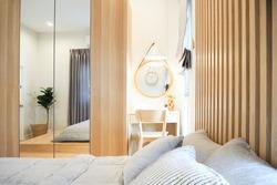 Bedroom white and light wood tone interior house japanese style  mimimalism