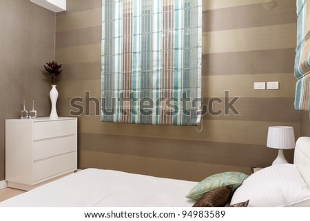 Bedroom with furnishings in a new house.
