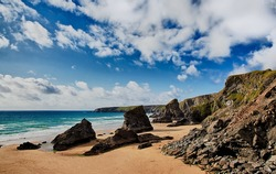Bedruthan Steps beach in Cornwall UK