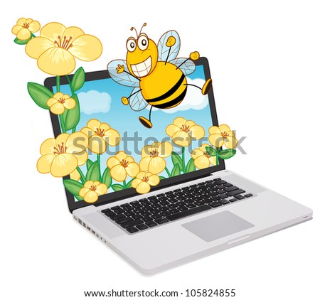 Bee coming out of a computer screen
