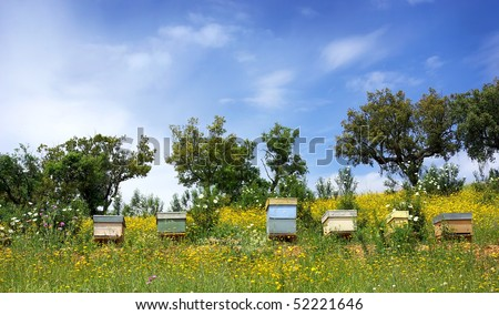 Bee houses at Portugal. - stock photo