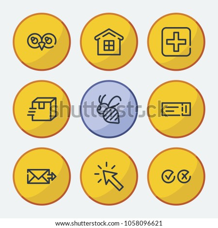 Stock Photo Bee icon with movie ticket, send mail and cross tick symbols. Set of medical, select, medicine icons and click concept. Editable  elements for logo app UI design.