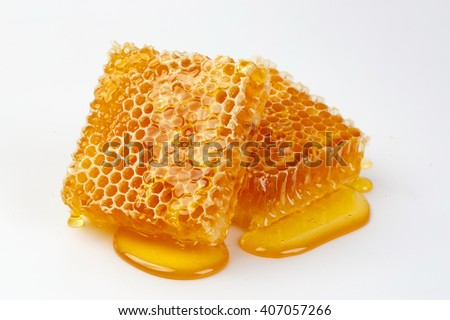Bee products with fresh honeycomb isolate on white background, honey products by organic natural ingredients concept
