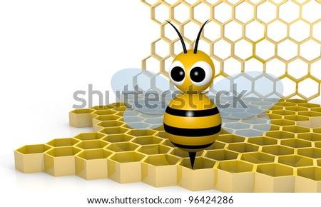 Bee with honeycombs, 3d rendering cartoon style