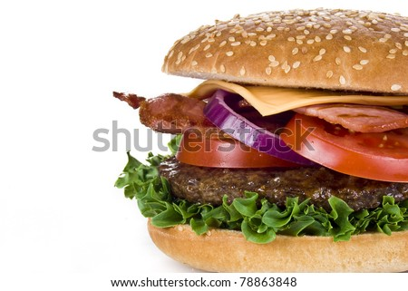 Beef and bacon burger isolated over white background