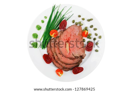 beef barbecue served on big white dish