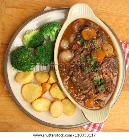 Beef bourguignon, classic French stew.