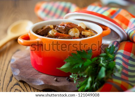 Beef Burgeoning with carrots,onions and mushrooms