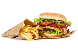 Beef burger and french fries isolated on white background