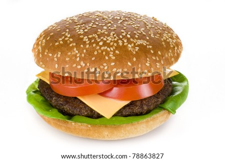 Beef burger isolated over white background