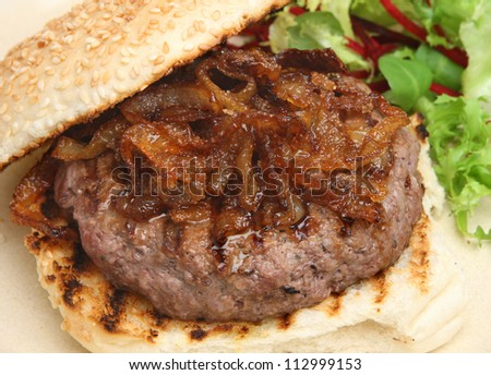 Beef burger with caramelised onions