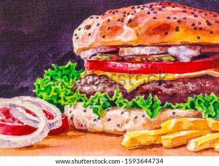 Beef burger with cheese, tomato, onion, french fries and lettuce on wooden table. Fast food meal. Watercolor painting.