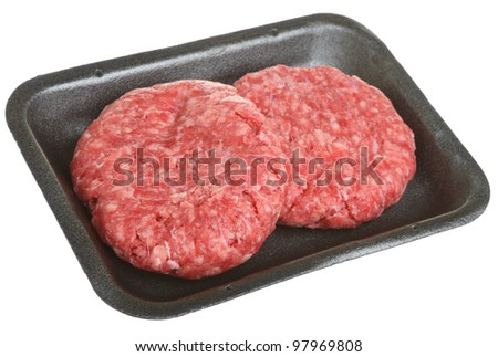 Beef burgers in styrofoam packaging tray