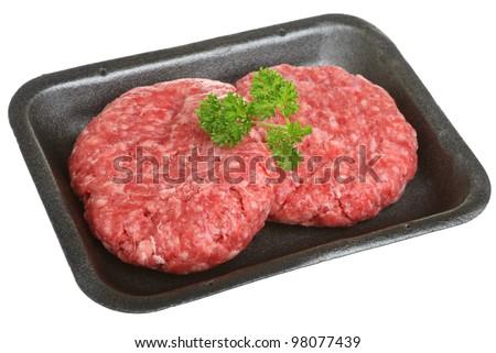 Beef burgers in styrofoam packaging tray