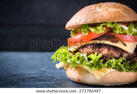 Beef cheeseburger with grilled onion,selective focus and blank space