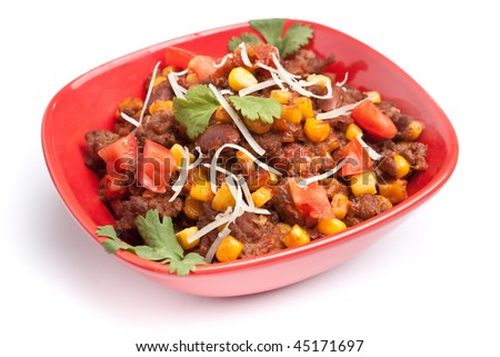 beef chili with beans, corns and cilantro