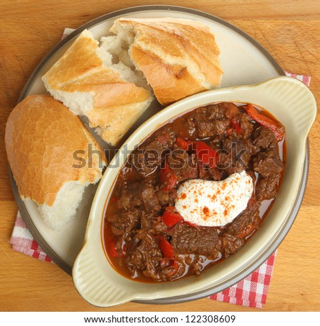 Beef goulash stew with crusty bread