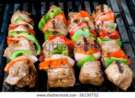 Beef kabobs on the barbecue grill