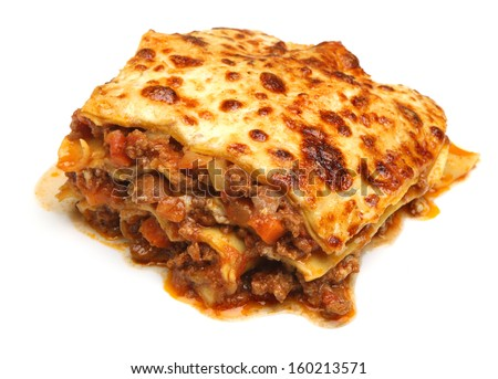 Beef lasagna isolated on white background