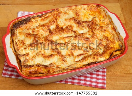 Beef lasagna made to a traditional Emilia Romagna (northern Italy) recipe.