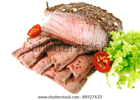 beef meat served with slice and pepper