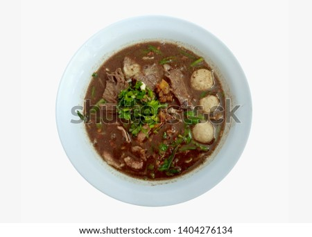 Beef noodles,Beef meatballs,Beef that has been cooked with soup