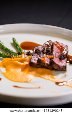 beef plated main chef dish