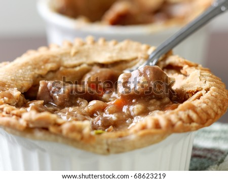 Beef pot pie closeup