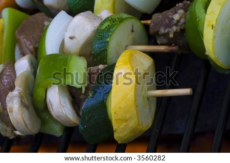 Beef shish ka bobs on the grill summer time is here cooking out has started.  Be sure to look for more bbq photo's in my portfolio.